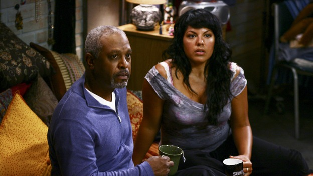 "GREY'S ANATOMY - ""I Am a Tree"" - Cristina meets Burke's parents -- and in the most awkward of circumstances -- the interns campaign for Izzie's reinstatement to the surgical intern program, Addison takes a break from her hospital duties, and a surgical patient lives what may be her last day to the fullest, on ""Grey's Anatomy,"" THURSDAY, SEPTEMBER 28 (9:00-10:01 p.m., ET) on the ABC Television Network. (ABC/SCOTT GARFIELD)JAMES PICKENS, JR., SARA RAMIREZ"