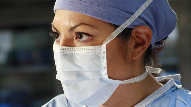 "GREY'S ANATOMY - ""Scars and Souvenirs"" - The race for chief heats up after a new competitor enters the fray, tensions escalate between Izzie and George, and Callie must reveal a big secret. Meanwhile, Derek treats a patient near and dear to him, while Alex continues his work with Jane Doe, on ""Grey's Anatomy,"" THURSDAY, MARCH 15 (9:00-10:01 p.m., ET) on the ABC Television Network. (ABC/RON TOM)SARA RAMIREZ"