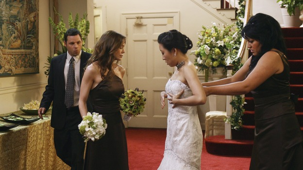"GREY'S ANATOMY - ""Didn't We Almost Have It All"" - Cristina and Burke's wedding day arrives - along with the interns' first exam results - and a successor to the Chief is named, as Callie and George make a big decision about their relationship, on the Season Finale of ""Grey's Anatomy,"" THURSDAY, MAY 17 (9:00-10:07 p.m., ET) on the ABC Television Network. (ABC/SCOTT GARFIELD)JUSTIN CHAMBERS, ELLEN POMPEO, SANDRA OH, SARA RAMIREZ"