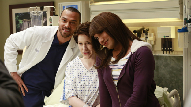 "GREY'S ANATOMY - ""The Face of Change"" - Competition heats up as several of the doctors fight to become the new face of Seattle Grace; April brings in an emergency case, and Jackson and Alex work with a transgender teen couple. Meanwhile, the hospital implements new policies which test the patience of the staff, on ""Grey's Anatomy,"" THURSDAY, FEBURARY 7 (9:00-10:02 p.m., ET) on the ABC Television Network. (ABC/RON TOM)JESSE WILLIAMS, RACHEL BROSNAHAN, MATT PASCUA"