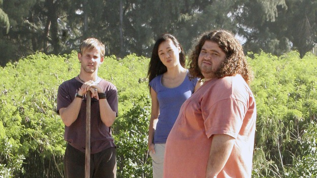"LOST - ""Expos"" - Hurley begins to suspect that Sawyer may be involved in an island mystery surrounding two fellow survivors, and Sun learns the truth about her past kidnapping attempt by ""The Others,"" on ""Lost,"" WEDNESDAY, MARCH 28 (10:00-11:00 p.m., ET), on the ABC Television Network. (ABC/MARIO PEREZ)MADISON THE DOG, DOMINIC MONAGHAN, YUNJIN KIM, JORGE GARCIA"