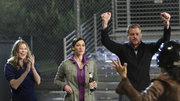"GREY'S ANATOMY - ""I Always Feel Like Somebody's Watchin' Me"" - Several weeks after her near-death experience, a recovering Izzie returns to work. Meanwhile, nervous that there will be layoffs in the hospital in the wake of an announcement from the Chief, the Seattle Grace residents compete to survive the cuts, including Cristina, who attempts to work alongside Arizona in pediatrics. And Bailey and Alex's patient's already complex case is further complicated by her schizophrenic son, on ""Grey's Anatomy,"" THURSDAY, OCTOBER 1 (9:00-10:01 p.m., ET) on the ABC Television Network. (ABC/CRAIG SJODIN)ELLEN POMPEO, CHYLER LEIGH, ERIC DANE, SANDRA OH"