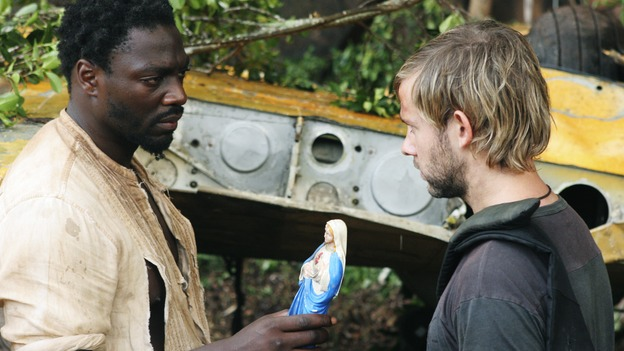"LOST - ""The 23rd Psalm"" - Mr. Eko interrogates Charlie about the Virgin Mary statue, Claire begins to lose faith in Charlie when she discovers his secret, and Jack is an interested observer when Kate gives the recovering Sawyer a much-needed haircut, on ""Lost,"" WEDNESDAY, JANUARY 11 (9:00-10:00 p.m., ET), on the ABC Television Network. (ABC/MARIO PEREZ) ADEWALE AKINNUOYE-AGBAJE, DOMINIC MONAGHAN"