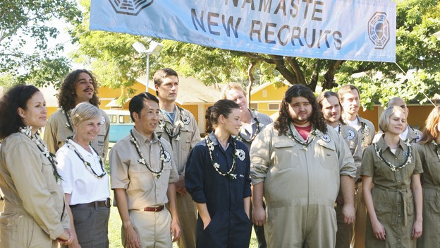 "LOST - ""Namaste"" - Jack, Kate and Hurley are welcomed as new Dharma recruits , on ""Lost,"" WEDNESDAY, MARCH 18 (9:00-10:02 p.m., ET) on the ABC Television Network. (ABC/MARIO PEREZ) MATTHEW FOX, EVANGELINE LILLY, JORGE GARCIA"