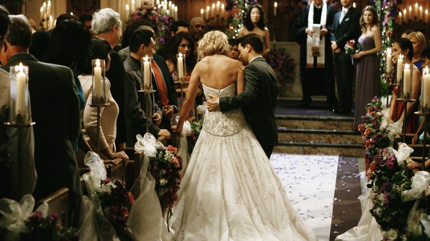 "GREY'S ANATOMY - ""What a Difference a Day Makes"" - George helps his best friend, Izzie, down the aisle for her wedding to Alex, on ""Grey's Anatomy,"" THURSDAY, MAY 7 (9:00-10:02 p.m., ET) on the ABC Television Network. KATHERINE HEIGL, T.R. KNIGHT, SANDRA OH, MICKEY MAXWELL, JUSTIN CHAMBERS, ELLEN POMPEO"