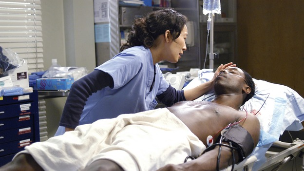 GREY'S ANATOMY - In the first hour of part two of the season finale of ABC's &quot;Grey's Anatomy&quot; -- &quot;Deterioration of the Fight or Flight Response&quot; -- Izzie and George attend to Denny as the pressure increases to find him a new heart, Cristina suddenly finds herself in charge of an ER, and Derek grapples with the realization that the life of a friend is in his hands. In the second hour, &quot;Losing My Religion,&quot; Richard goes into interrogation mode about a patient's condition, Callie confronts George about his feelings for her, and Meredith and Derek meet about Doc. Part two of the season finale of &quot;Grey's Anatomy&quot; airs MONDAY, MAY 15 (9:00-11:00 p.m., ET) on the ABC Television Network. (ABC/GALE ADLER)SANDRA OH, ISAIAH WASHINGTON