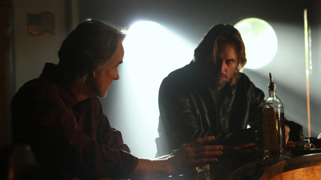 "LOST - ""Outlaws"" - Kate and Sawyer divulge dark secrets to each other while tracking a renegade boar that Sawyer swears is purposely harassing him. Meanwhile, Hurley and Sayid worry that Charlie is losing it after his brush with death, and a shocking, prior connection between Sawyer and Jack is revealed. Robert Patrick (""Terminator 2: Judgment Day,"" ""The X-Files"") guest stars, on ""Lost,"" WEDNESDAY, FEBRUARY 16 (8:00-9:02 p.m., ET), on the ABC Television Network. (ABC/MARIO PEREZ) JOHN TERRY, JOSH HOLLOWAY"