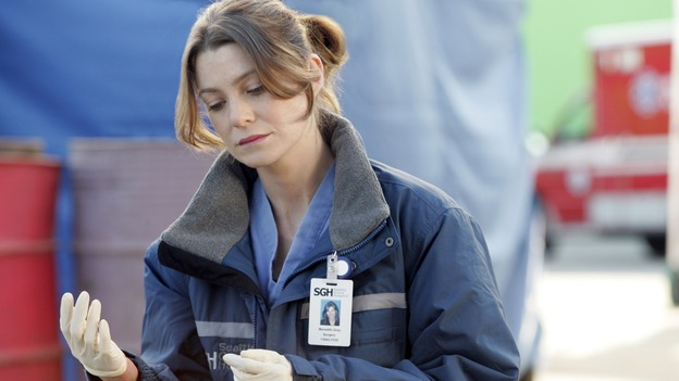 GREY'S ANATOMY - &quot;Walk on Water&quot; - Ellen Pompeo puts producer/technical advisor Linda Klein's coaching to practice while shooting &quot;Grey's Anatomy&quot; on location at the Santa Anita Park in Arcadia, California. (ABC/VIVIAN ZINK)