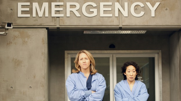 "GREY'S ANATOMY - ""The Becoming"" - The nurses' objections to McSteamy's trysts lead to the instating of a new ""date and tell"" policy. Meanwhile news of Burke's latest career achievements force Cristina to face her feelings for her ex, Meredith and Derek admit a veteran soldier into their clinical trial, and Callie turns to Sloan in her time of need, on ""Grey's Anatomy,"" THURSDAY, MAY 8 (9:00-10:02 p.m., ET) on the ABC Television Network.  (ABC/VIVIAN ZINK)BROOKE SMITH, SANDRA OH"