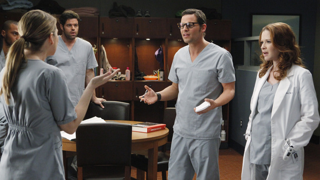 GREY'S ANATOMY - &quot;If/Then&quot; - As Meredith puts Zola to bed and falls asleep, she begins to wonder -- what if her mother had never had Alzheimer's and she'd had loving, supportive parents? The reverberations of a happy Meredith Grey change the world of Seattle Grace as we know it. What if she had never met Derek in that bar and he had never separated from Addison? What if Callie and Owen had become a couple long before she met Arizona? And what if Bailey never evolved from the meek intern she once was? &quot;Grey's Anatomy&quot; airs THURSDAY, FEBRUARY 2 (9:00-10:02 p.m., ET) on the ABC Television Network. (ABC/VIVIAN ZINK)JESSE WILLIAMS, ELLEN POMPEO, ROBERT BAKER, JUSTIN CHAMBERS, SARAH DREW