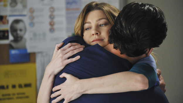 "GREY'S ANATOMY - ""Shock to the System"" -- After weeks of concealing the fact she was pregnant and miscarried, Meredith at last tells Derek and is finally cleared to return to her surgical duties in the wake of the hospital shooting spree; Cristina experiences post-traumatic stress disorder in the midst of an operation; and Bailey refuses to let Alex operate until he agrees to have the bullet in his chest removed, on ""Grey's Anatomy,"" THURSDAY, SEPTEMBER 30 (9:00-10:01 p.m., ET) on the ABC Television Network. (ABC/ERIC MCCANDLESS)ELLEN POMPEO, PATRICK DEMPSEY"