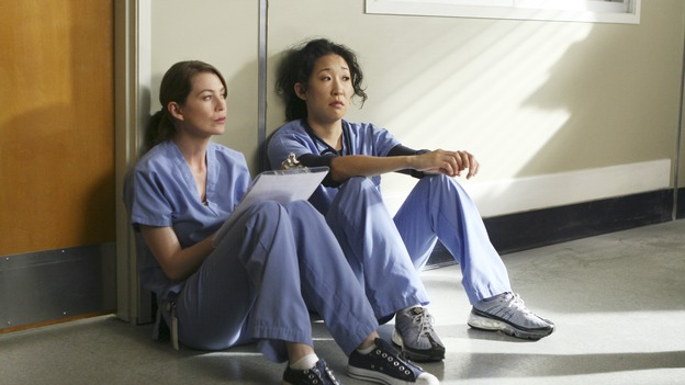 "GREY'S ANATOMY - ""Wishin' and Hopin'"" - The race for the Chief's position is on, as the doctors compete for Richard's affections, a surgical patient endangers the lives of those around her, and Meredith's Alzheimer's-stricken mother, Ellis, experiences a change in her medical condition, on ""Grey's Anatomy,"" THURSDAY, FEBRUARY 1 (9:00-10:01 p.m., ET) on the ABC Television Network. (ABC/MICHAEL DESMOND)ELLEN POMPEO, SANDRA OH"