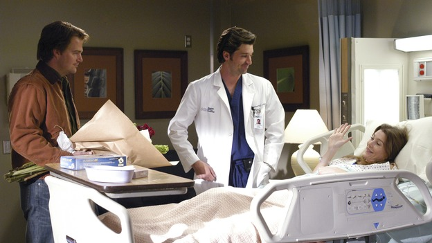 "GREY'S ANATOMY - ""What I Am"" - Addison doubts her abilities as a doctor, Cristina pushes Burke's rehabilitation, one of the interns suffers their own medical emergency, and Izzie receives the surprise of her life, on ""Grey's Anatomy,"" THURSDAY, OCTOBER 12 (9:00-10:01 p.m., ET) on the ABC Television Network. (ABC/GALE ADLER)CHRIS O'DONNELL, PATRICK DEMPSEY, ELLEN POMPEO"