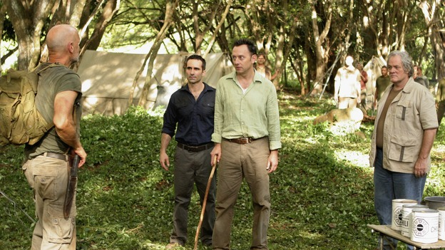 "LOST - ""The Man Behind the Curtain"" - Ben begrudgingly begins to introduce Locke to the secrets of the island, beginning with the mysterious Jacob. Meanwhile, Juliet's secret goes public, on ""Lost,"" WEDNESDAY, MAY 9 (10:00-11:00 p.m., ET), on the ABC Television Network. (ABC/MARIO PEREZ)TERRY O'QUINN, NESTOR CARBONELL, MICHAEL EMERSON, M.C. GAINEY"