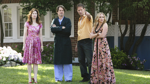 "DESPERATE HOUSEWIVES - ""Being Alive"" - A pall is cast over Wisteria Lane in the wake of a brutal attack, on ""Desperate Housewives,"" SUNDAY, OCTOBER 4 (9:00-10:01 p.m., ET) on the ABC Television Network. As the citizens of Fairview try to make sense of a recent attack in their neighborhood, Lynette withholds a secret from Susan, Gaby gives niece Ana advice on how to get a guy's attention, Bree worries how her affair with Karl will affect her friendship with Susan, and Angie is determined to protect her son and her family's past. (ABC/DANNY FELD)DANA DELANY, KYLA MACLACHLAN, JEFFREY NORDLING, DREA DE MATTEO"