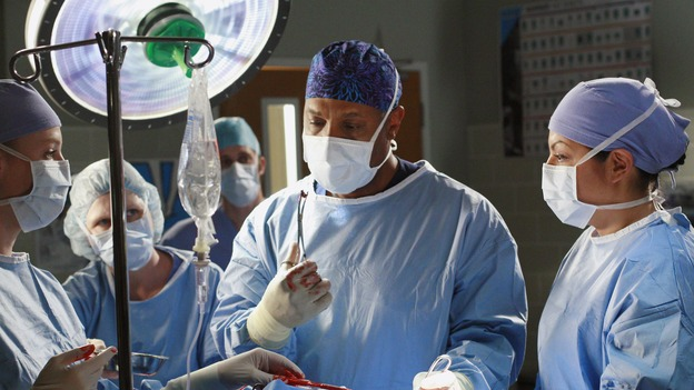 "GREY'S ANATOMY - ""Scars and Souvenirs"" - The race for chief heats up after a new competitor enters the fray, tensions escalate between Izzie and George, and Callie must reveal a big secret. Meanwhile, Derek treats a patient near and dear to him, while Alex continues his work with Jane Doe, on ""Grey's Anatomy,"" THURSDAY, MARCH 15 (9:00-10:01 p.m., ET) on the ABC Television Network. (ABC/RON TOM)KATHERINE HEIGL, JAMES PICKENS, JR., SARA RAMIREZ"
