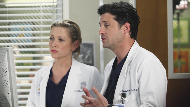 GREY'S ANATOMY - &quot;Holidaze&quot; -- As Thanksgiving, Christmas and New Year's pass, Miranda is visited by her father, William, who disapproves of her choices in life; meanwhile, Mark and Lexie must cope with the shocking arrival of a woman from his past, and Thatcher Grey questions the Chief's recent behavior as Meredith comes to his defense, on &quot;Grey's Anatomy,&quot; THURSDAY, NOVEMBER 19 (9:00-10:01 p.m., ET) on the ABC Television Network. (ABC/DANNY FELD)JESSICA CAPSHAW, PATRICK DEMPSEY