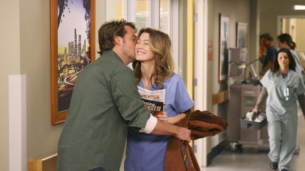 GREY'S ANATOMY - In the first hour of part two of the season finale of ABC's &quot;Grey's Anatomy&quot; -- &quot;Deterioration of the Fight or Flight Response&quot; -- Izzie and George attend to Denny as the pressure increases to find him a new heart, Cristina suddenly finds herself in charge of an ER, and Derek grapples with the realization that the life of a friend is in his hands. In the second hour, &quot;Losing My Religion,&quot; Richard goes into interrogation mode about a patient's condition, Callie confronts George about his feelings for her, and Meredith and Derek meet about Doc. Part two of the season finale of &quot;Grey's Anatomy&quot; airs MONDAY, MAY 15 (9:00-11:00 p.m., ET) on the ABC Television Network. (ABC/SCOTT GARFIELD)CHRIS O'DONNELL, ELLEN POMPEO