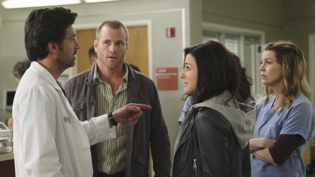 "GREY'S ANATOMY - ""Superfreak"" - When Derek receives an unexpected and unwelcome visit from his estranged sister, Amelia, issues between the siblings -- both past and present -- come to the surface; the Chief tries to help Alex when he notices that he's refusing to use the elevators after his near-fatal shooting; and Meredith and Derek continue their efforts to ease Cristina back into surgery after her post-traumatic stress, on ""Grey's Anatomy,"" THURSDAY, OCTOBER 7 (9:00-10:01 p.m., ET) on the ABC Television Network. (ABC/RICHARD CARTWRIGHT)PATRICK DEMPSEY, SEAN CARRIGAN, CATERINA SCORSONE, ELLEN POMPEO"