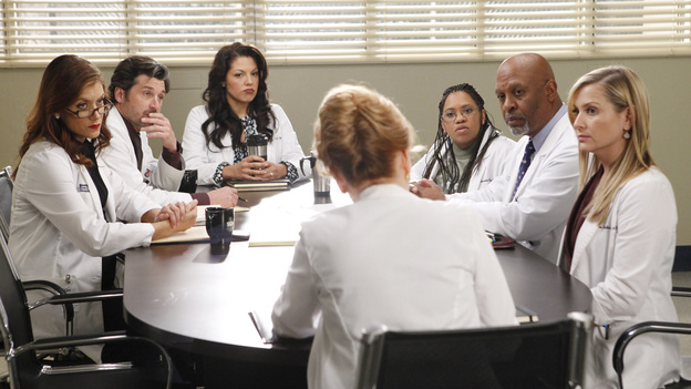 "GREY'S ANATOMY - ""If/Then"" - As Meredith puts Zola to bed and falls asleep, she begins to wonder -- what if her mother had never had Alzheimer's and she'd had loving, supportive parents? The reverberations of a happy Meredith Grey change the world of Seattle Grace as we know it. What if she had never met Derek in that bar and he had never separated from Addison? What if Callie and Owen had become a couple long before she met Arizona? And what if Bailey never evolved from the meek intern she once was? ""Grey's Anatomy"" airs THURSDAY, FEBRUARY 2 (9:00-10:02 p.m., ET) on the ABC Television Network. (ABC/VIVIAN ZINK)KATE WALSH, PATRICK DEMPSEY, SARA RAMIREZ, CHANDRA WILSON, JAMES PICKENS JR., JESSICA CAPSHAW"
