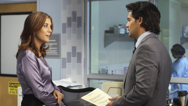 "PRIVATE PRACTICE - ""In or Out"" - Much to her displeasure, Addison is teamed with a new oncologist, Dr. Rodriguez, to treat a newborn baby with a malignant tumor; when Violet and Sheldon visit a prison in order to interview inmates who are up for parole, Pete is highly uncomfortable as Violet tries to help a parolee; and Addison and Violet suggest Sheldon could be the solution for Amelia's needs, on ""Private Practice,"" THURSDAY, OCTOBER 21 (10:01-11:00 p.m., ET) on the ABC Television Network. (ABC/RON TOM)KATE WALSH, CRISTIAN DE LA FUENTE"