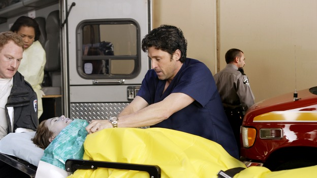 "GREY'S ANATOMY - ""Drowning on Dry Land"" - ""Grey's Anatomy's"" three-episode story arc continues with a part two that will challenge the interns of Seattle Grace -- and ""Grey's"" fans as well -- like never before, THURSDAY, FEBRUARY 15 (9:00-10:01 p.m., ET) on the ABC Television Network. Elizabeth Reaser (Independent Spirit Award nominee for ""Sweet Land"") guest stars as a patient over multiple episodes. (ABC/CRAIG SJODIN)MAC BRANDT, CHANDRA WILSON, ELLEN POMPEO, PATRICK DEMPSEY"