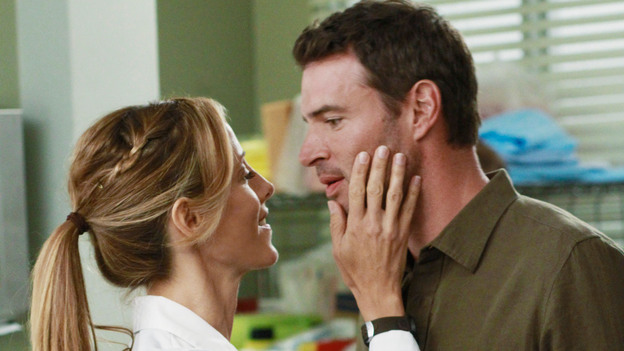 "GREY'S ANATOMY - ""She's Gone"" - In the second hour, ""She's Gone"" (10:00-11:00 p.m.), news of Meredith and Derek's unsteady relationship raises a red flag for Zola's adoption counselor; Alex quickly realizes that he has become the outcast of the group after ratting out Meredith; and Cristina makes a tough decision regarding her unexpected pregnancy. Also, Chief Webber brings Henry in for a last minute surgery, alarming Teddy. ""Grey's Anatomy"" returns for its eighth season with a two-hour event THURSDAY, SEPTEMBER 22 (9:00-11:00 p.m., ET) on the ABC Television Network. (ABC/RON TOM)KIM RAVER, SCOTT FOLEY"