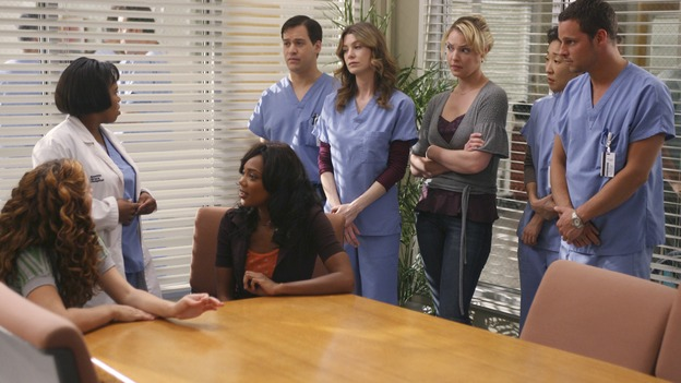 GREY'S ANATOMY - In the first hour of part two of the season finale of ABC's &quot;Grey's Anatomy&quot; -- &quot;Deterioration of the Fight or Flight Response&quot; -- Izzie and George attend to Denny as the pressure increases to find him a new heart, Cristina suddenly finds herself in charge of an ER, and Derek grapples with the realization that the life of a friend is in his hands. In the second hour, &quot;Losing My Religion,&quot; Richard goes into interrogation mode about a patient's condition, Callie confronts George about his feelings for her, and Meredith and Derek meet about Doc. Part two of the season finale of &quot;Grey's Anatomy&quot; airs MONDAY, MAY 15 (9:00-11:00 p.m., ET) on the ABC Television Network. (ABC/SCOTT GARFIELD)HALLEE HIRSH, CHANDRA WILSON, TIFFANY HINES, T.R. KNIGHT, ELLEN POMPEO, KATHERINE HEIGL, SANDRA OH, JUSTIN CHAMBERS
