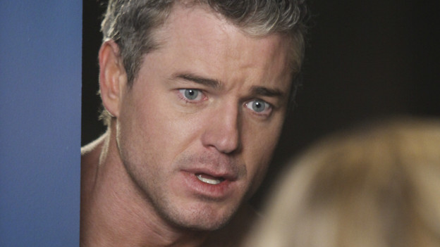 GREY'S ANATOMY - &quot;Hook, Line and Sinner&quot; - Sloan returns to Mark's apartment, just as she's going into labor, and Teddy, Mark and the still-fighting Callie and Arizona are there to help with the birth and to get Mark through his grandson's pending adoption. Meanwhile Teddy sees Derek's invitation to illustrious cardiothoracic surgeon Tom Evans' as a threat to her future employment at the hospital, and the team work on a crab boat captain who has been stabbed with a giant shark hook, on &quot;Grey's Anatomy,&quot; THURSDAY, APRIL 29 (9:00-10:01 p.m., ET) on the ABC Television Network. (ABC/DANNY FELD) ERIC DANE