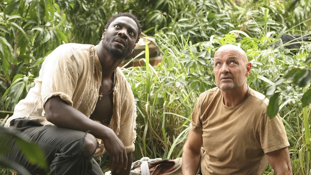 LOST -- &quot;?&quot; - Mr. Eko enlists Locke to help find a secret location he believes houses answers to the island's mysteries. Meanwhile, Jack and the other survivors struggle to cope with the horrific situation in the hatch, on &quot;Lost,&quot; WEDNESDAY, MAY 10 (9:00-10:01 p.m., ET), on the ABC Television Network. (ABC/MARIO PEREZ)ADEWALE AKINNUOYE-AGBAJE, TERRY O'QUINN
