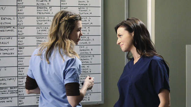 "GREY'S ANATOMY - ""Superfreak"" - When Derek receives an unexpected and unwelcome visit from his estranged sister, Amelia, issues between the siblings -- both past and present -- come to the surface; the Chief tries to help Alex when he notices that he's refusing to use the elevators after his near-fatal shooting; and Meredith and Derek continue their efforts to ease Cristina back into surgery after her post-traumatic stress, on ""Grey's Anatomy,"" THURSDAY, OCTOBER 7 (9:00-10:01 p.m., ET) on the ABC Television Network. (ABC/RICHARD CARTWRIGHT)ELLEN POMPEO, CATERINA SCORSONE"
