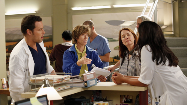 "GREY'S ANATOMY - ""I Was Made for Lovin' You"" - Cristina and Owen continue to figure out their relationship amidst the pending lawsuit; and Bailey argues with Ben over plans for their upcoming nuptials. Meanwhile, Callie recruits Jackson to help find a solution to Derek's hand, but he is preoccupied by a shocking situation with April, on ""Grey's Anatomy,"" THURSDAY, NOVEMBER 29 (9:00-10:02 p.m., ET) on the ABC Television Network. (ABC/KELSEY MCNEAL)JUSTIN CHAMBERS, LAURA INNES (DIRECTOR), SARA RAMIREZ"