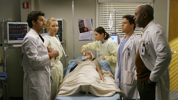 "GREY'S ANATOMY - ""Haunt You Every Day"" - It's Halloween, and the day is full of surprises for the doctors of Seattle Grace - Alex receives an unexpected and welcome visit from his former patient, Ava/Rebecca, Meredith is convinced that her mother's ashes are haunting her, Cristina is snubbed by a surgeon she admires, and Callie announces George and Izzie's affair to their fellow doctors, on ""Grey's Anatomy,"" THURSDAY, OCTOBER 25 (9:00-10:02 p.m., ET) on the ABC Television Network. (ABC/SCOTT GARFIELD)PATRICK DEMPSEY, KATHERINE HEIGL, BHAMA ROGET, CHYLER LEIGH, T.R. KNIGHT, JAMES PICKENS, JR."