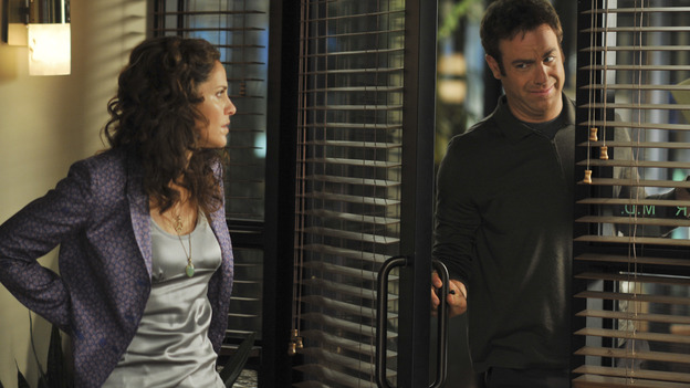 "PRIVATE PRACTICE - ""Equal and Opposite"" - Addison and Sam form a hostile takeover in order to bring the practice out of bankruptcy, as all of the doctors look for additional clients and new income streams, while Violet's friendship with Cooper is on the brink of extinction and a married couple fight for an unethical fertility treatment at Oceanside Wellness, on ""Private Practice,"" WEDNESDAY, OCTOBER 8 (9:00-10:01 p.m., ET) on the ABC Television Network. (ABC/ERIC McCANDLESS)AMY BRENNEMAN, PAUL ADELSTEIN"