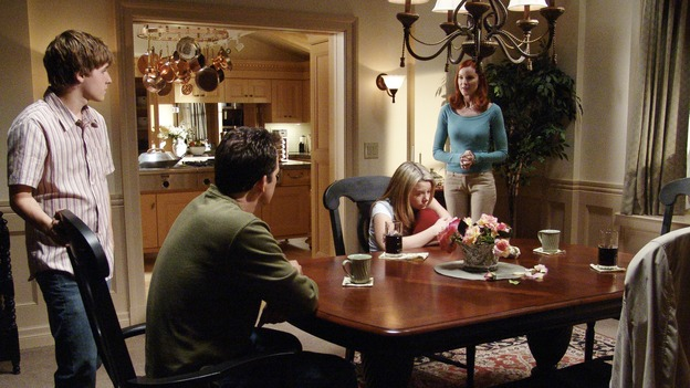 "DESPERATE HOUSEWIVES - ""Guilty"" -- In the aftermath of tragedy, the residents of Wisteria Lane take stock of their lives. Meanwhile, Susan grows suspicious of Mike Delfino's real reason for moving to the street, Lynette reaches the breaking point in her addiction to the twins' ADD medication, and the mysterious Mr. Shaw (guest star Richard Roundtree) gets down to business, on ""Desperate Housewives,"" SUNDAY, NOVEMBER 28 (9:00-10:01 p.m., ET) on the ABC Television Network. (ABC/DANNY FELD)SHAWN PYFROM, STEVEN CULP, JOY LAUREN, MARCIA CROSS"