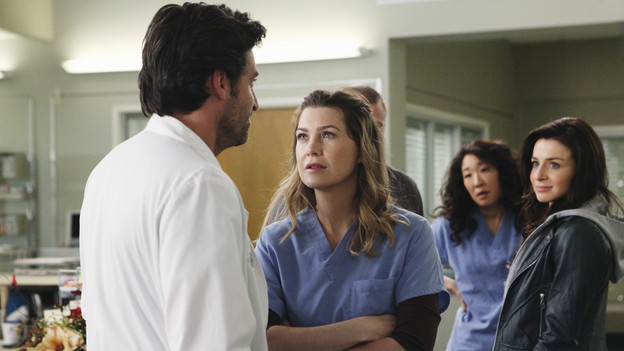 "GREY'S ANATOMY - ""Superfreak"" - When Derek receives an unexpected and unwelcome visit from his estranged sister, Amelia, issues between the siblings -- both past and present -- come to the surface; the Chief tries to help Alex when he notices that he's refusing to use the elevators after his near-fatal shooting; and Meredith and Derek continue their efforts to ease Cristina back into surgery after her post-traumatic stress, on ""Grey's Anatomy,"" THURSDAY, OCTOBER 7 (9:00-10:01 p.m., ET) on the ABC Television Network. (ABC/RICHARD CARTWRIGHT)PATRICK DEMPSEY, ELLEN POMPEO, SANDRA OH, CATERINA SCORSONE"