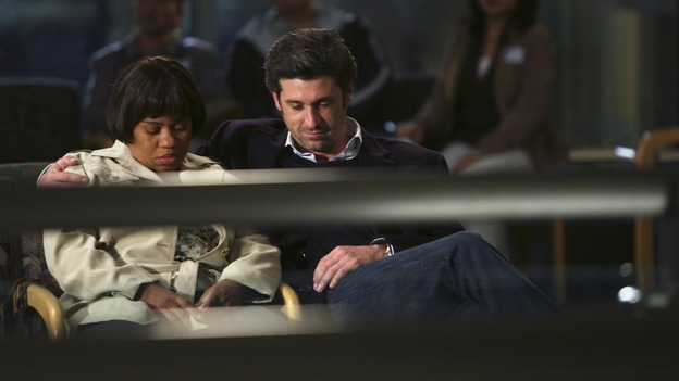 "GREY'S ANATOMY - ""Forever Young"" - The ER is filled with teenagers after a schoolbus crash, Bailey treats a patient who was her high school crush, Derek goes out on a date with a fellow doctor, and Thatcher enters the ER looking for Meredith, on ""Grey's Anatomy,"" THURSDAY, NOVEMBER 15 (9:00-10:02 p.m., ET) on the ABC Television Network. (ABC/RICHARD CARTWRIGHT)CHANDRA WILSON, PATRICK DEMPSEY"