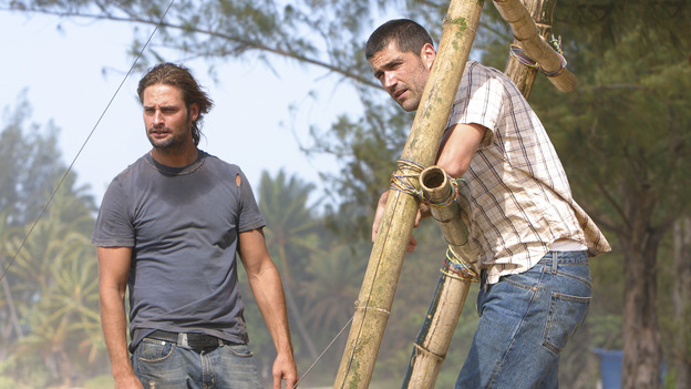 "LOST - ""Born to Run"" - Jack suspects foul play when Michael becomes violently ill while building the raft, on ""Lost,"" THURSDAY, MAY 11 on the ABC Television Network. (ABC/MARIO PEREZ) JOSH HOLLOWAY, MATTHEW FOX"