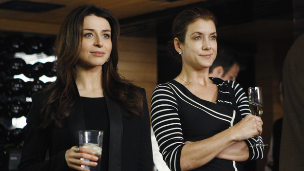 "PRIVATE PRACTICE - ""A Step Too Far"" - At the launch party for Violet's book, Sheldon falls for the smart, beautiful Dr. Marla Phillips (Alex Kingston), even though she's the critic who panned Violet's tome; meanwhile, Addison's and Pete's patient is caught in a love triangle with her brother-in-law and sister, for whom she is a surrogate, and Cooper and Sam try to convince a family to make their son's health a priority over his successful wrestling career, on ""Private Practice,"" THURSDAY, MARCH 24 (10:01-11:00 p.m., ET) on the ABC Television Network. (ABC/MICHAEL DESMOND)CATERINA SCORSONE, KATE WALSH"