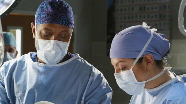 "GREY'S ANATOMY - ""Scars and Souvenirs"" - The race for chief heats up after a new competitor enters the fray, tensions escalate between Izzie and George, and Callie must reveal a big secret. Meanwhile, Derek treats a patient near and dear to him, while Alex continues his work with Jane Doe, on ""Grey's Anatomy,"" THURSDAY, MARCH 15 (9:00-10:01 p.m., ET) on the ABC Television Network. (ABC/RON TOM)JAMES PICKENS, JR., JAMES GAMMON, SARA RAMIREZ"