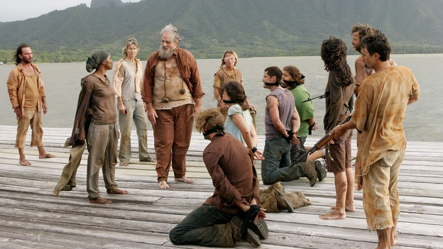 "LOST -- ""Live Together, Die Alone"" - Bea, Tom and the Others threaten Jack and his party, on the season finale of ""Lost,"" WEDNESDAY, MAY 24 (9:00-11:00 p.m., ET), on the ABC Television Network. (ABC/MARIO PEREZ) APRIL GRACE, M.C. GAINEY, JOSH HOLLOWAY, EVANGELINE LILY, MATTHEW FOX, JORGE GARCIA, TANIA RAYMONDE"