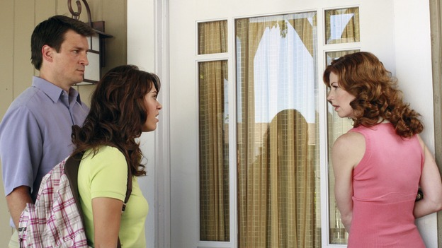 "DESPERATE HOUSEWIVES - ""Smiles of a Summer Night"" - Dylan is not happy with her mother. SUNDAY, OCTOBER 7 (9:00-10:01 p.m., ET) on the ABC Television Network. (ABC/RON TOM) NATHAN FILLION, LYNDSY FONSECA, DANA DELANY"