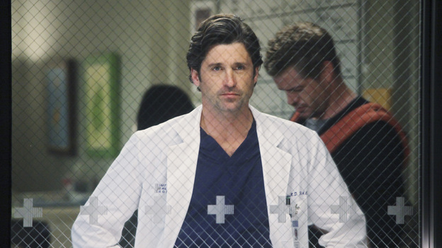 "GREY'S ANATOMY - ""I Will Survive"" - Personal and work pressures are adding up and have Meredith visibly on edge, Owen conducts formal interviews for the Chief Resident position, Cristina grows increasingly defiant, Alex and Lucy's undefined relationship gets tested, and Jackson suddenly backs out of the Webber's diabetes trial, on ""Grey's Anatomy,"" THURSDAY, MAY 12 (9:00-10:01 p.m., ET) on the ABC Television Network. (ABC/DANNY FELD)PATRICK DEMPSEY, ERIC DANE"