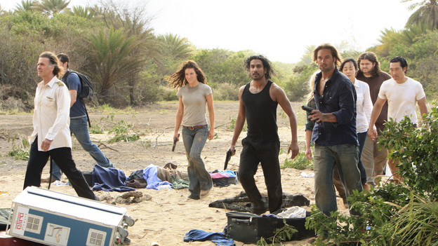 "LOST - ""The Candidate"" - Jack must decide whether or not to trust Locke after he is asked to follow through on a difficult task, on ""Lost,"" TUESDAY, MAY 4 (9:00-10:02 p.m., ET) on the ABC Television Network. (ABC/MARIO PEREZ) JEFF FAHEY, MATTHEW FOX (OBSCURED), EVANGELINE LILLY, NAVEEN ANDREWS, JOSH HOLLOWAY, YUNJIN KIM, JORGE GARCIA, DANIEL DAE KIM"