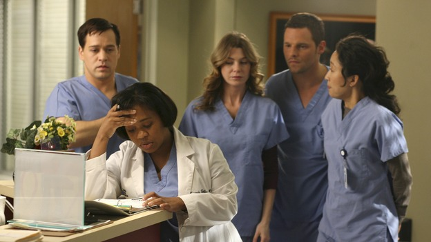 "GREY'S ANATOMY - In the first hour of part two of the season finale of ABC's ""Grey's Anatomy"" -- ""Deterioration of the Fight or Flight Response"" -- Izzie and George attend to Denny as the pressure increases to find him a new heart, Cristina suddenly finds herself in charge of an ER, and Derek grapples with the realization that the life of a friend is in his hands. In the second hour, ""Losing My Religion,"" Richard goes into interrogation mode about a patient's condition, Callie confronts George about his feelings for her, and Meredith and Derek meet about Doc. Part two of the season finale of ""Grey's Anatomy"" airs MONDAY, MAY 15 (9:00-11:00 p.m., ET) on the ABC Television Network. (ABC/SCOTT GARFIELD)T.R. KNIGHT, CHANDRA WILSON, ELLEN POMPEO, JUSTIN CHAMBERS, SANDRA OH"