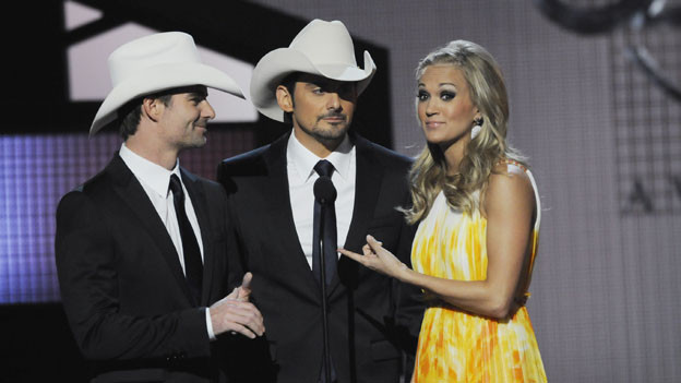 "THE 44TH ANNUAL CMA AWARDS - THEATRE - ""The 44th Annual CMA Awards"" were broadcast live from the Bridgestone Arena in Nashville, WEDNESDAY, NOVEMBER 10 (8:00-11:00 p.m., ET) on the ABC Television Network. (ABC/KATHERINE BOMBOY)JEFF GORDON, BRAD PAISLEY, CARRIE UNDERWOOD"