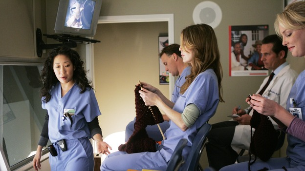GREY'S ANATOMY - &quot;Name of the Game&quot; - George begins to overstay his welcome at Burke's apartment; Meredith learns a secret about her father; Bailey worries her colleagues will not treat her the same now that she's a mother; and Alex gets a lesson in bedside manners, on &quot;Grey's Anatomy,&quot; SUNDAY, APRIL 2 (10:00-11:00 p.m., ET) on the ABC Television Network. (ABC/PETER &quot;HOPPER&quot; STONE)SANDRA OH, ELLEN POMPEO, KATHERINE HEIGL