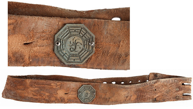 "Polar Bear collarLarge, aged and distressed leather collar, intended for a polar bear, with a DHARMA Hydra insignia attached. Discovered by Charlotte at an archeological excavation site in Medenine, Tunisia, in the episode, ""Confirmed Dead.""Related content:EPISODE RECAP - ""Confirmed Dead"""