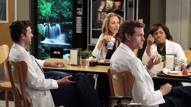 "GREY'S ANATOMY - ""Let The Bad Times Roll"" - The residents agonize over their oral boards, reliving every answer they gave during their exams; Arizona's close childhood friend comes to Seattle Grace for medical help; the doctors work on a patient who is missing one third of his skull; and Julia asks Mark to start a family with her. Meanwhile Catherine tells Richard that one of his residents has failed, on ""Grey's Anatomy,"" THURSDAY, MAY 3 (9:00-10:01 p.m., ET) on the ABC Television Network. (ABC/RICHARD CARTWRIGHT)PATRICK DEMPSEY, KIM RAVER, ERIC DANE, CHANDRA WILSON"