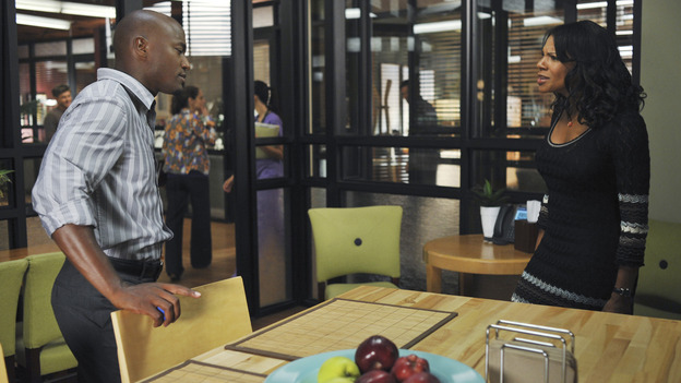 "PRIVATE PRACTICE - ""Past Tense"" - An office election pits Sam and Naomi against each other to lead the practice, and ends with surprising results, while Addison treats a young Afghan girl who wants to hide her past, and Cooper's objectionable personal life catches up with his professional one, on ""Private Practice,"" WEDNESDAY, OCTOBER 29 (9:00-10:01 p.m., ET) on the ABC Television Network. (ABC/ERIC McCANDLESS)TAYE DIGGS, AUDRA McDONALD"